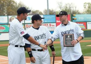 Jordan Danks, Josh Phegley, and Ross Gload accepted their All Knights Stadium Team plaques on Opening Day, 2013. (photo credit: Erica Caldwell).