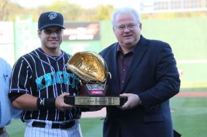 Phegley won the 2012 Minor League Baseball Rawlings Gold Glove Award. (Photo credit: Erica Caldwell).